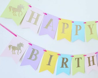 Unicorn banner,rainbow pastels unicorn decor,unicorn birthday banner,unicorn party decor,pastels unicorn birthday banner,unicorn decorations