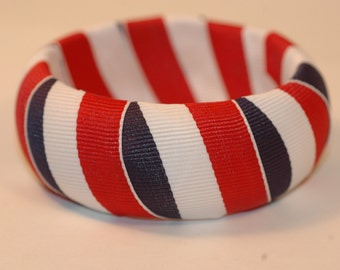 Red White and Blue Bangle , 4th of July Bangle , July the 4th Bangle , Fourth of July Bangle