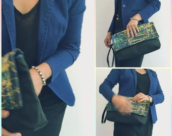 Hand painted multicoloured yoke and black fabric evening clutch