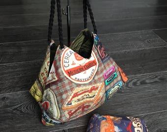 FactorDesignNL Handmade modern vintage style tote handbag! Cookie jar logo's 70's. Tasche Bolso bag. Shopper tote. Koektrommel tas