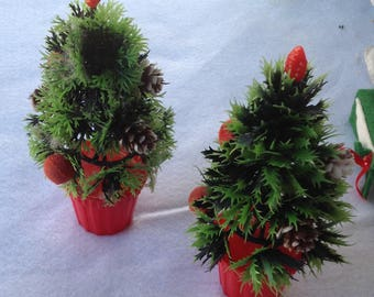Vintage plastic potted christmas tree with red flocked ornaments