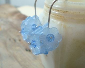 Blue Flower Cluster Earrings Bridesmaid Jewelry Sterling Silver Metalworked Spring Fashion Bridal Jewelry Flower Jewelry Floral