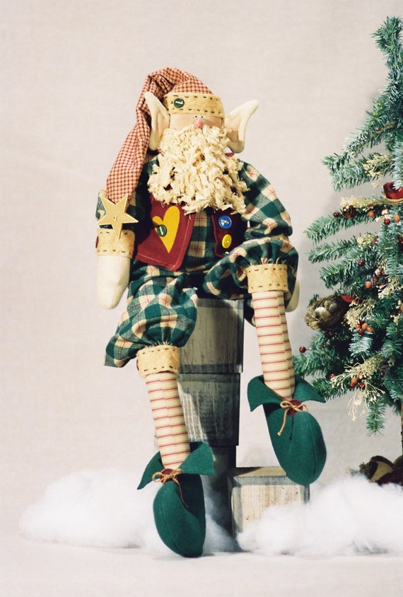 Elmo - Mailed Cloth Doll Pattern - Cute 25in Christmas Holiday Elf