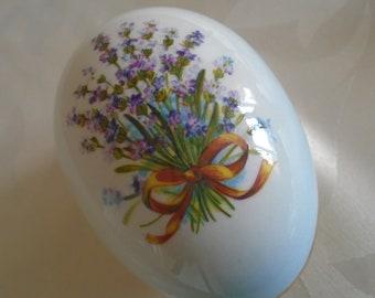 egg shaped lidded trinket dish with lavender design Palissy made for ringtons