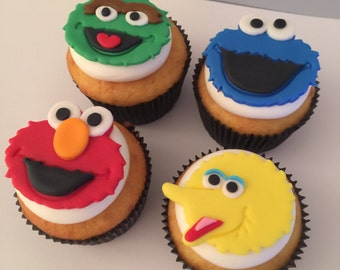 12 Sesame Street Inspired Cupcake Toppers-Fondant