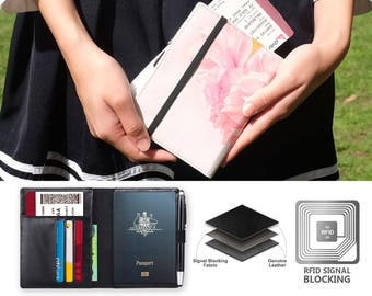 leather passport cover RFID blocking leather travel wallet watercolor flower pattern