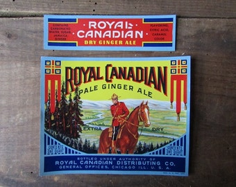 Soda Label Vintage Royal Canadian Tom Collins Mixer
