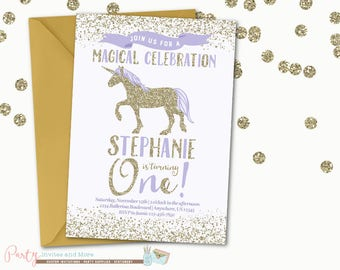 Purple and Gold Unicorn Birthday Invitation, Purple and Gold Unicorn Invitation, Birthday Invitation, Unicorn Birthday Invitation, Unicorns