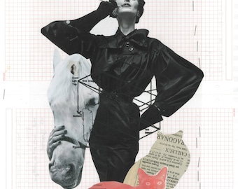 SMOKING CAT LADY ii / Collage / Original / Black & White / Art / Woman / Cat a3