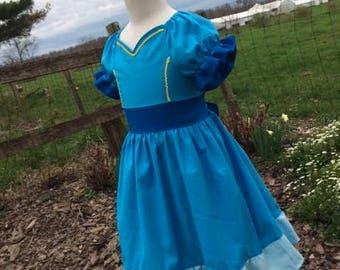 Girls Isabel Dress, Everyday Princess Isabel of Avalor, inspired by Disney's Elena of Avalor, Isabel's blue dress, sizes 12/18m, 2T-8 girls