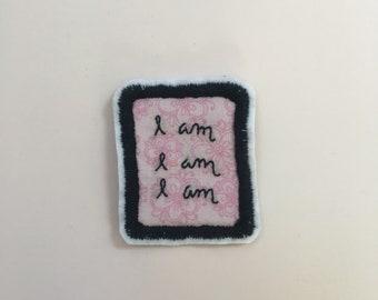 I Am I Am I Am Sylvia Plath Pink Literary Patch