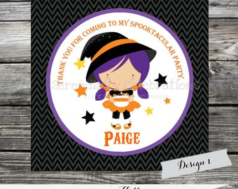 Witch Halloween Printable Favor Tag, Digital Halloween Stickers, Candy Bag Treats, Witch Favor Tags, Birthday, Holiday Favors, Halloween