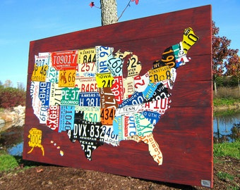 """License Plate Map of the United States - XL Size 60"""" x 40"""" USA Art"""