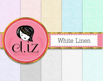 Linen digital paper 'White Linen' backgrounds, linen textures with white and pastel colors