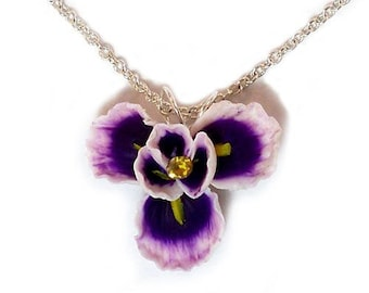 Purple Iris Necklace - Iris Jewelry, February Birthday Birth Flower