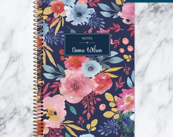 NOTEBOOK personalized journal | lined notebook | personalized gift | stocking stuffer | spiral bound | blue pink navy watercolor floral