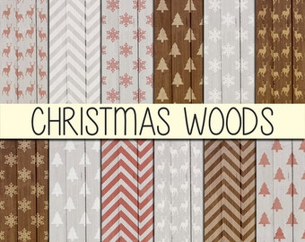 Christmas Wood Patterns - Xmas backgrounds - Instant download - Christmas wrapping - Digital Paper Pack - Set of 12 Papers - 12x12 inch