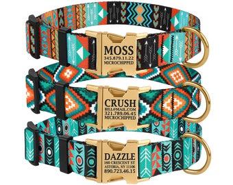 Dog Collar, Tribal Dog Collar, Personalized Dog Collar, Dog Collar for Dogs, Pet Collar, Engraved Buckle Dog Collar