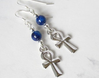Egyptian Ankh and Lapis Earrings, Sterling Silver Beads, Sterling Silver Earwires