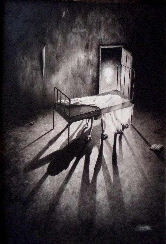 Fantastique noir stephen sous le lit art horreur art - Dessin horreur ...