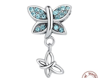 Blue Crystal Butterfly Charm