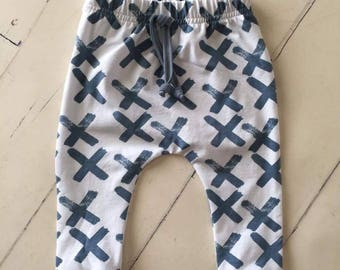 Blue x print harem pants, baby pants, baby leggings, boy pants, baby boy clothes, soft pants, joggers
