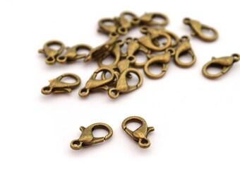2 clasps 12x6mm metal antique bronze hooks