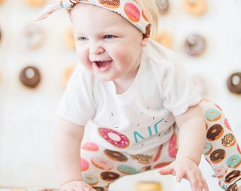 Baby Girls Donut Outfit, Frosted Donut Legging with Matching Headband and But First, Donuts OR CUSTOM Bodysuit or T-shirt, Doughnut Clothing