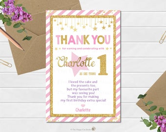Twinkle Little Star Thank You Note, Card, Personalized, 1st Birthday Party, Pink Gold, Stars, Gold Glitter, Printable, Digital Download File