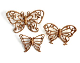 Plastic Craft Butterflies, Collection of Three, Gift Wrap Embellishments
