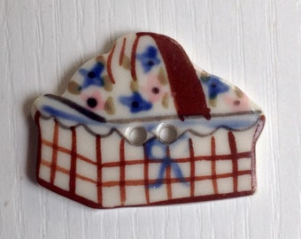 Hand-Painted Porcelain Button, 1 3/8 Inch Long, Basket of Flowers, Brown & Blue