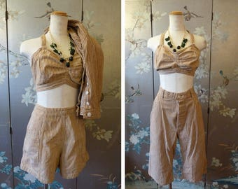 1930 - 1940s THREE piece shorts top and CAPRI striped Cotton Romper PLAYSUIT waist 28 to 29