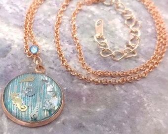 Holographic Sea Life Painted Blue Rosegold-tone Pendant on Rolo Chain