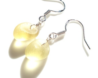 Sea Glass hook earrings of Pastel Yellow drops suspended from Sterling Silver hooks - E1628 - from Seaham,  UK