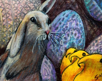 original art  aceo drawing Easter bunny rabbit peeps Ukrainian egg