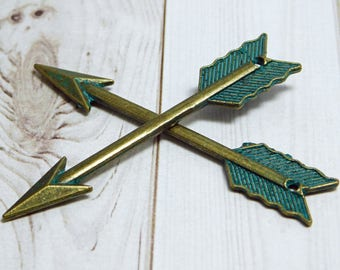 2pcs - 62x11mm - Arrow Pendant - Boho Pendant - Verdigris Pendant - Patina Pendant - Bronze Pendant - Arrow Charm - Green Patina - (B542)
