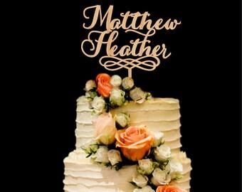 Names Wedding Cake Topper Wood Custom Cake Topper