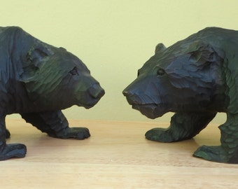 Two Original 1960's Hand Carved Black Bear Sculpture Figurines - Free Shipping