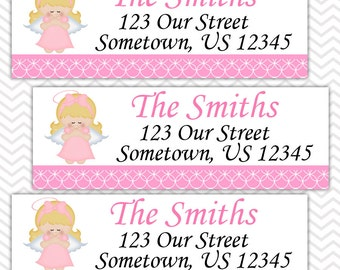 Kneeling Angel Girl Pink Baptism Christening First Holy Communion  - Personalized Address labels, Stickers