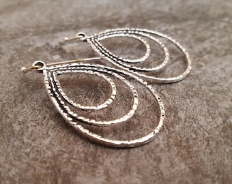 Silver Teardrop Hoop Earrings, Oval Hoop Earrings, Antiqued Silver Drop Earrings, Lightweight Everyday, Gift for her, jingsbeadingworld