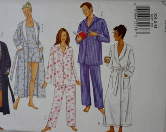 Butterick 6837 Unisex Robe and Pajama Sewing Pattern New Uncut  Size XS,S,Med