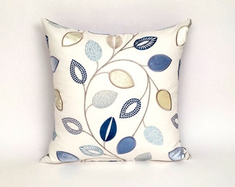 Embroidered Blue &  Lime Green Throw Pillow, Square Decorative Toss Pillow P-2-177