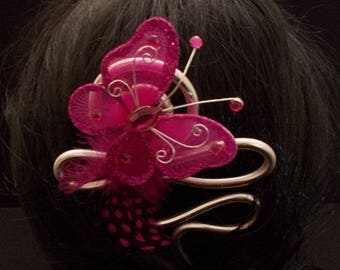 Pink hair stick