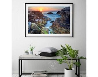 Large Framed Coastal Print, Seascape Sunrise Photo, Ocean Rocks Photography, Narragansett Beach RI Picture, Hazard Rocks, Rhode Island Art