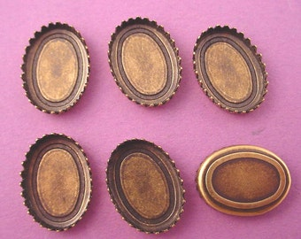 Brass Ox Oval Crown Edge Settings 18x13 - 8 Pieces