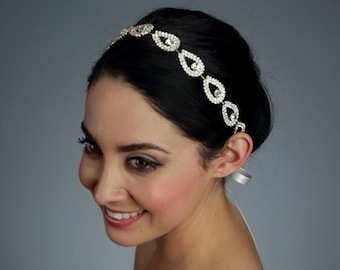 Wedding Rhinestone Headband Attached to a Pure Silk Ribbon - Ships in 3-5 Business Days