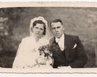 Wedding picture 1938 lovely couple - Memorabilia adorable portrait analog Real Photo Postcard Photography Antique RPPC paper ephemera
