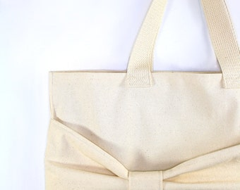 Giant Bow Bag - Canvas Market Tote, Reusable Grocery Bags, Ultimate Shopping, Hobo, All Natural Washable Cotton Handbag Simple Purse