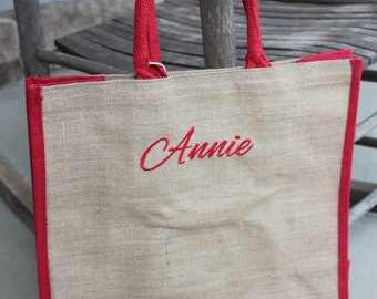 Personalized Monogrammed Embroidered Natural Jute Two Tone Tote Bag Burlap Shopping Bag Large Natural Tote Beach Craft Burlap/Red Tote Bag