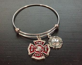 Fire Department Theme Adjustable Bangle Style Bracelet
